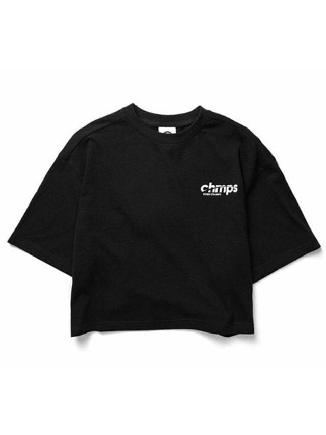 [BORNCHAMPS]CROP SIDE LOGO TEE BLACK