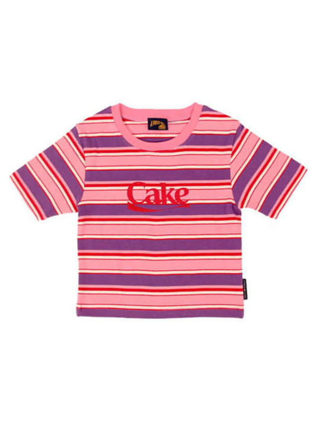 [APOC]Cake Stripe Crop Top_Pink