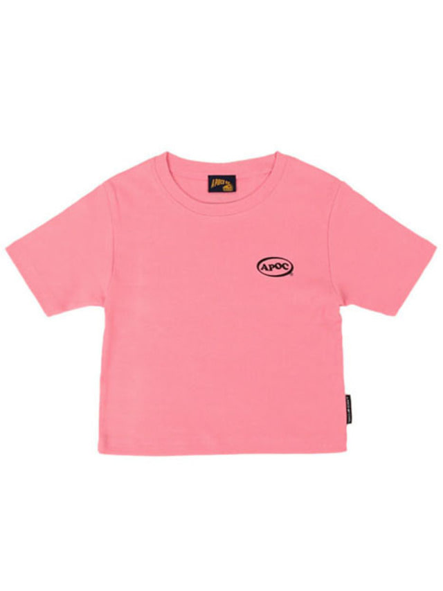 [APOC]Oval Logo Crop Top_Pink