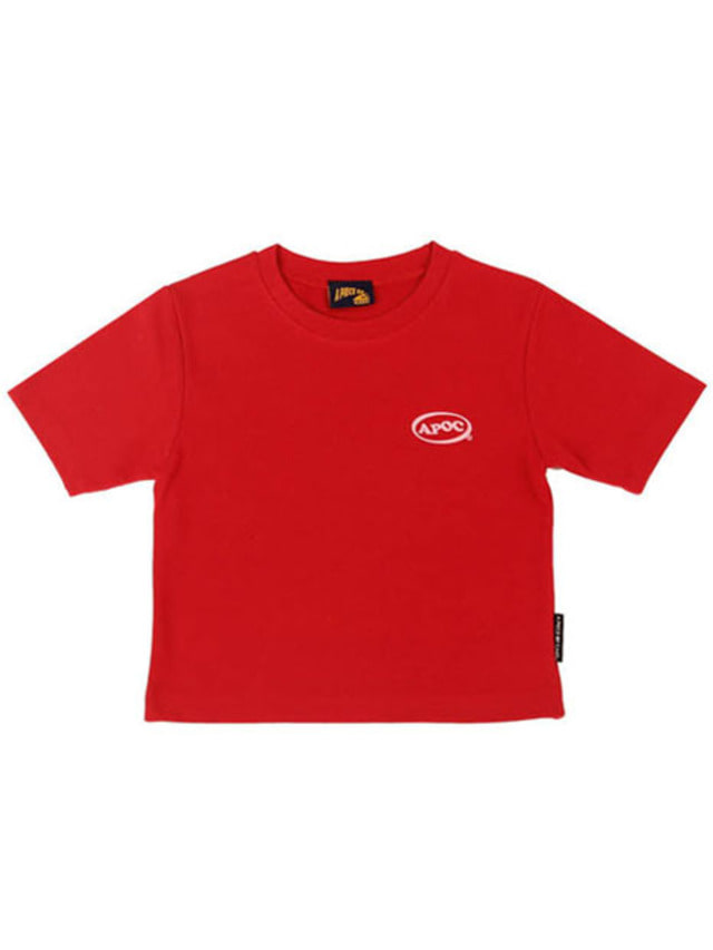 [APOC]Oval Logo Crop Top_Red