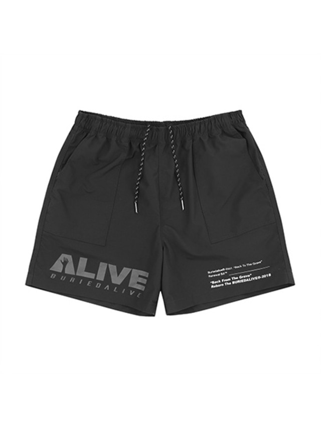 [BURIEDALIVE]BA ALIVE LOGO SHORT PANTS BLACK