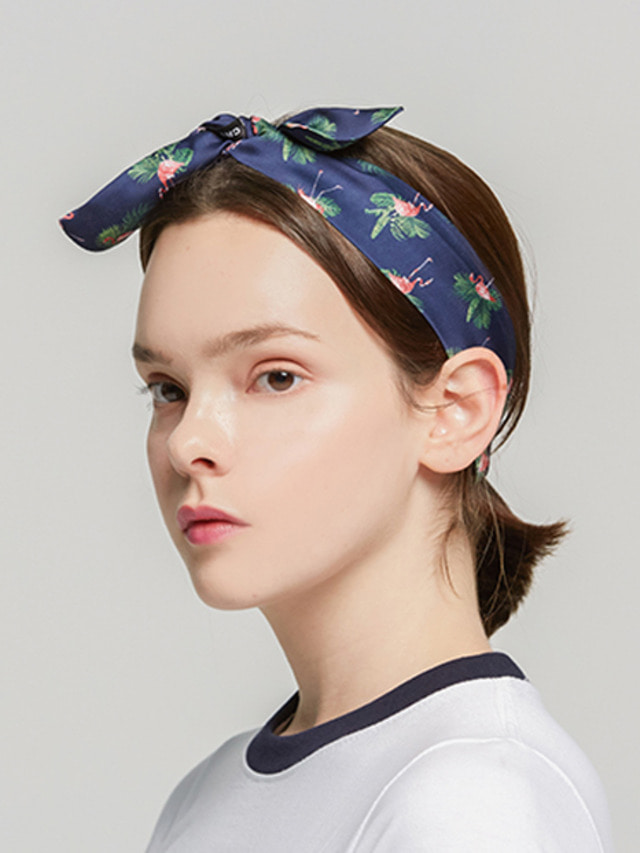 [ROMATIC CROWN] FLAMINGO HAIRBAND NAVY