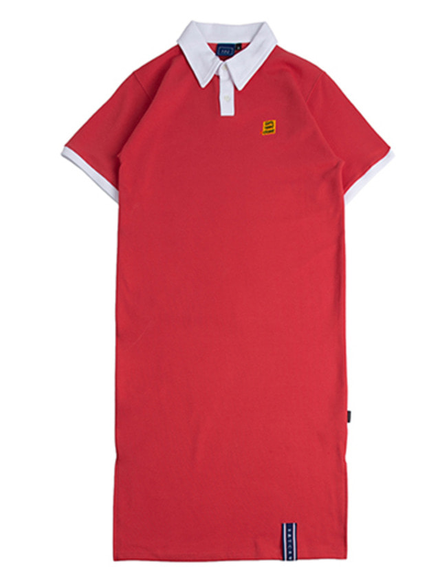 [ROMANTICCROWN] COLLAR COTTON DRESS RED