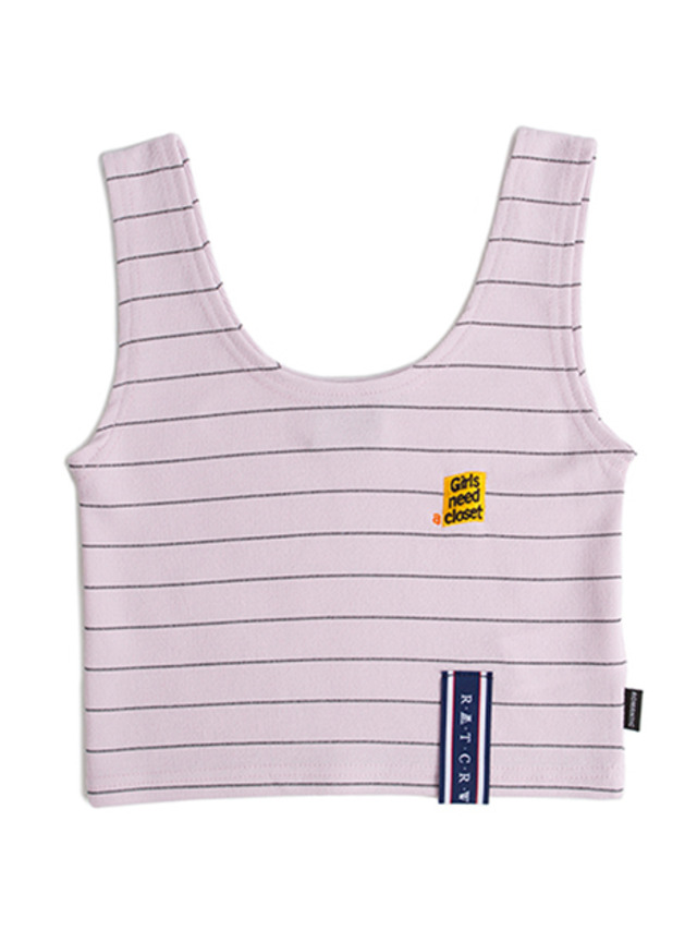 [ROMANTICCROWN] STRIPE KNIT SLEEVELESS PURPLE