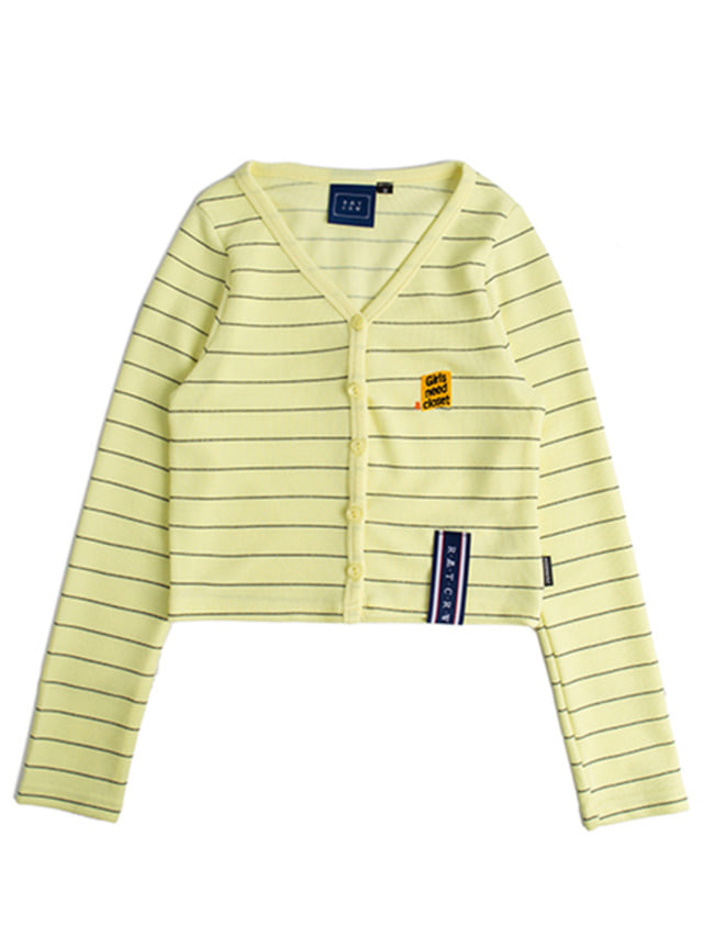 [ROMANTICCROWN] STRIPE KNIT CARDIGAN YELLOW