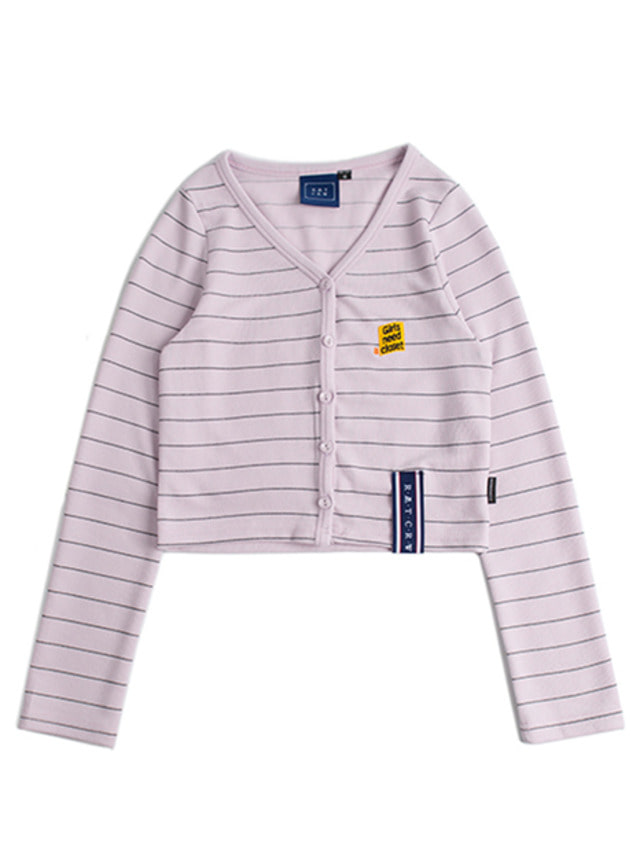 [ROMANTICCROWN] STRIPE KNIT CARDIGAN PURPLE
