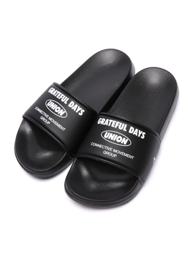 [UNIONOBJET] UNION TEXT LOGO SLIPPER BLACK