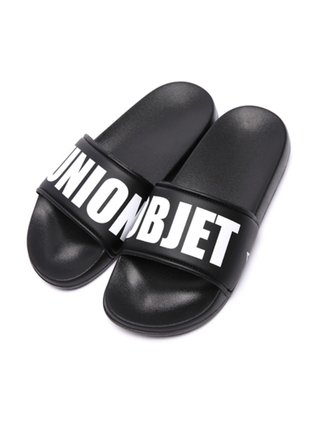 [UNIONOBJET] UNION BIG LOGO SLIPPER BLACK