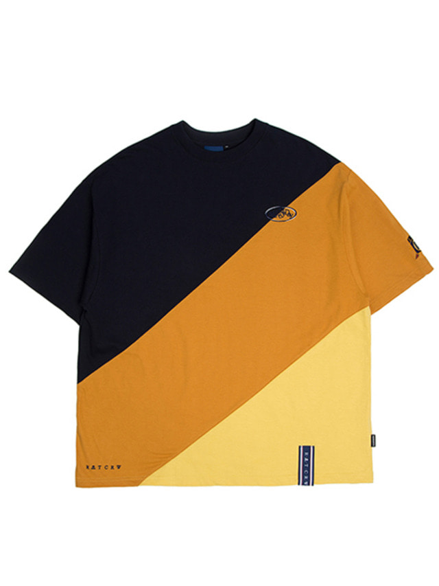 [ROMANTICCROWN] DIVISION COLOR BLOCK T-SHIRT MUSTARD