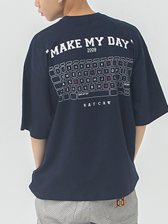 [ROMANTICCROWN] MMD KEYBOARD T-SHIRT NAVY