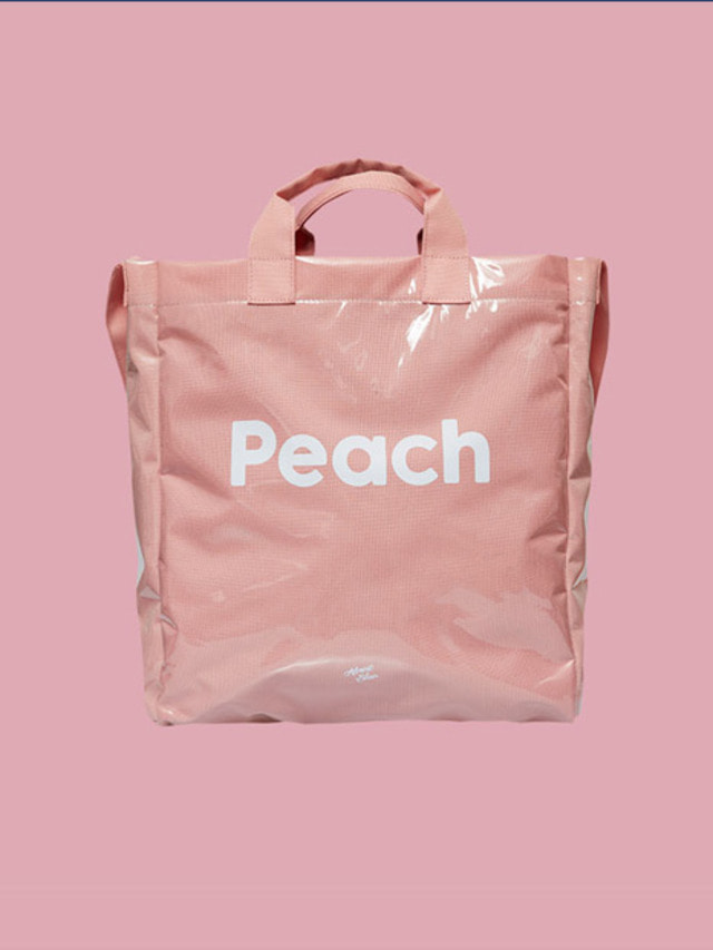 [ALMOST BLUE] PVC 2WAY CROSS BAG PEACH