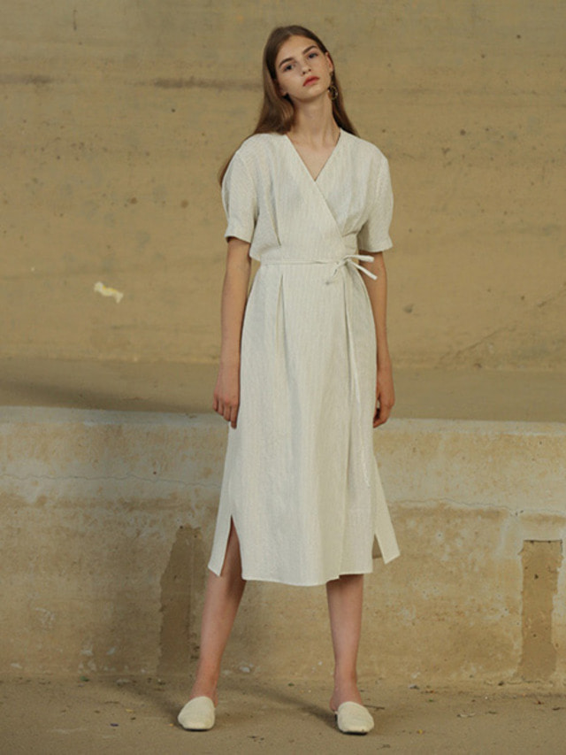 [MOHAN]LINEN STRIPE WRAP DRESS IVORY
