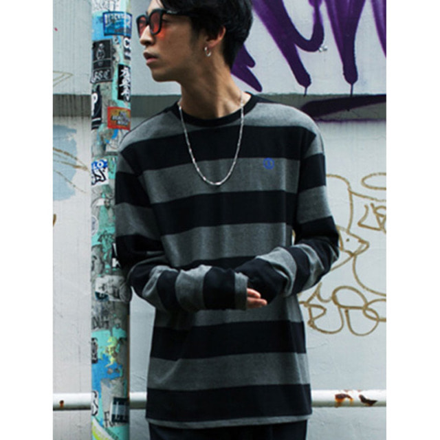 B WIDE STRIPE TEE CHARCOAL CEPCMTS04CH