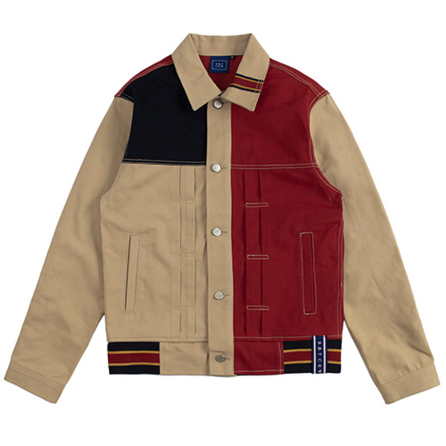 [ROMANTICCROWN] COLOR BLOCK TRUCKER JACKET BEIGE