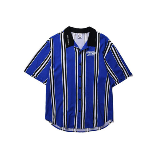 [BORNCHAMPS]BC LARGE STRIPED SHIRT BLUE CERBMSH02BL