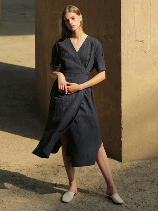 [MOHAN]LINEN STRIPE WRAP DRESS NAVY