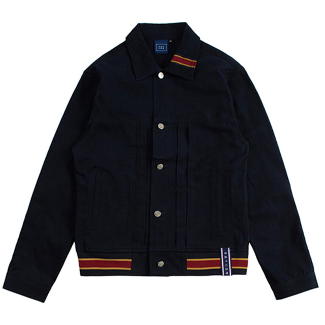 [ROMANTICCROWN] COLOR TAPE TRUCKER JACKET NAVY