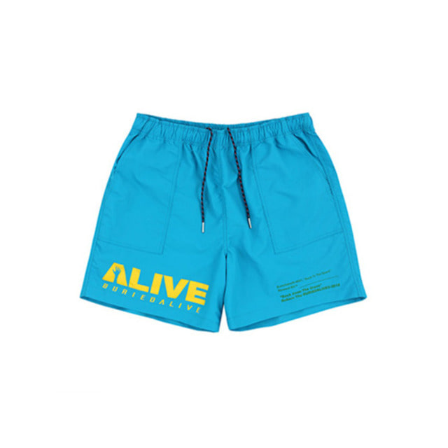 [BURIEDALIVE]BA ALIVE LOGO SHORT PANTS BLUE