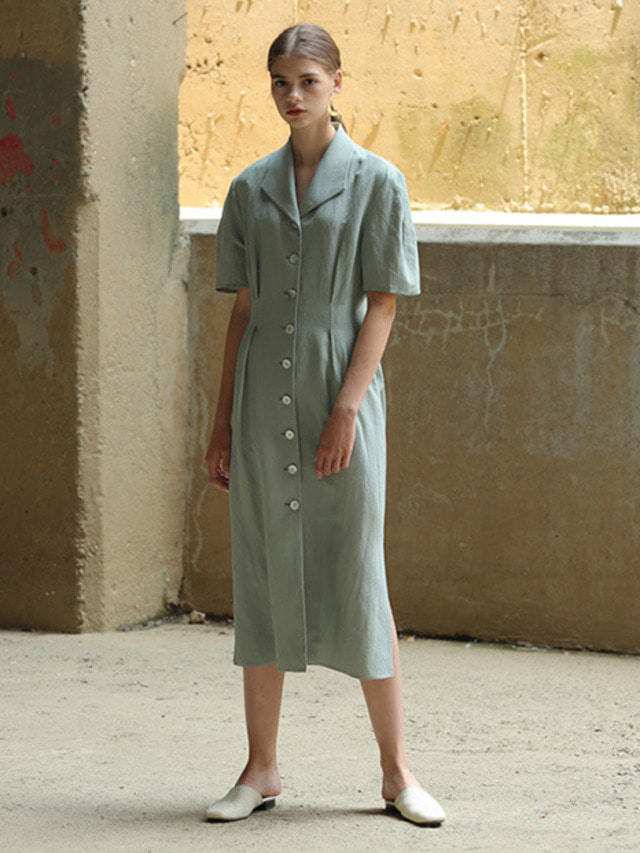 [MOHAN]LINEN SLANT COLLAR DRESS GREEN