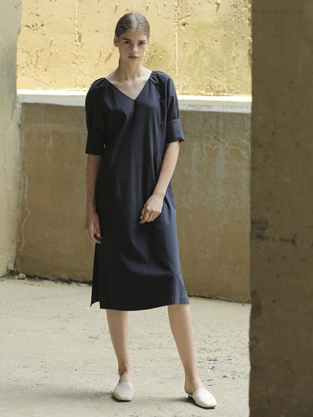 [MOHAN]LINEN VOLUME V-NECK DRESS NAVY