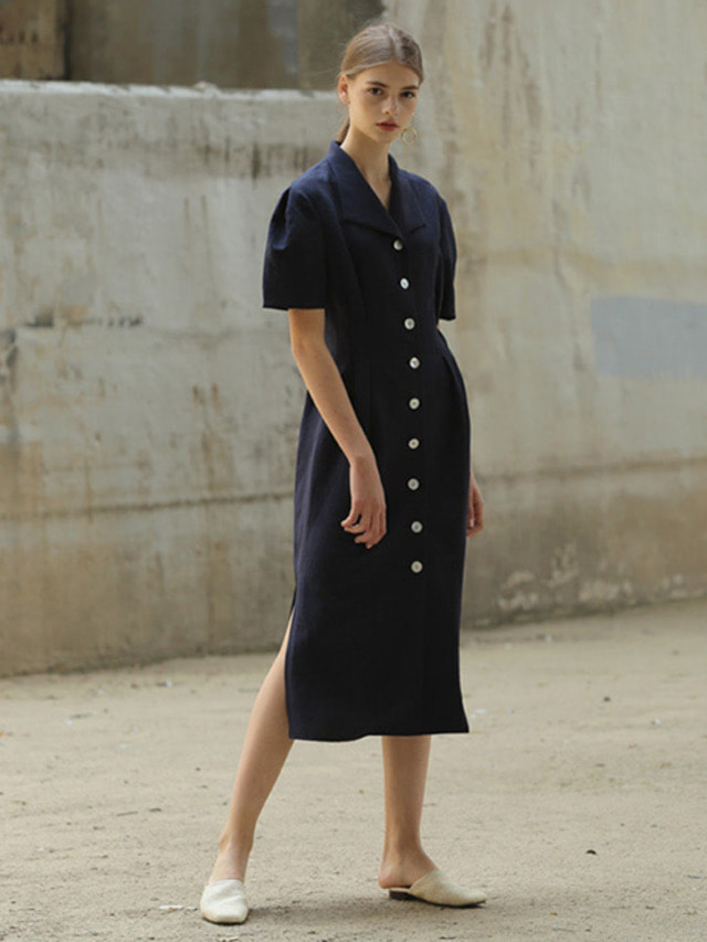 [MOHAN]LINEN SLANT COLLAR DRESS NAVY