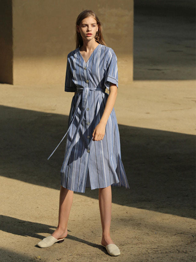 [MOHAN]WIDE STRIPE ROBE DRESS BLUE