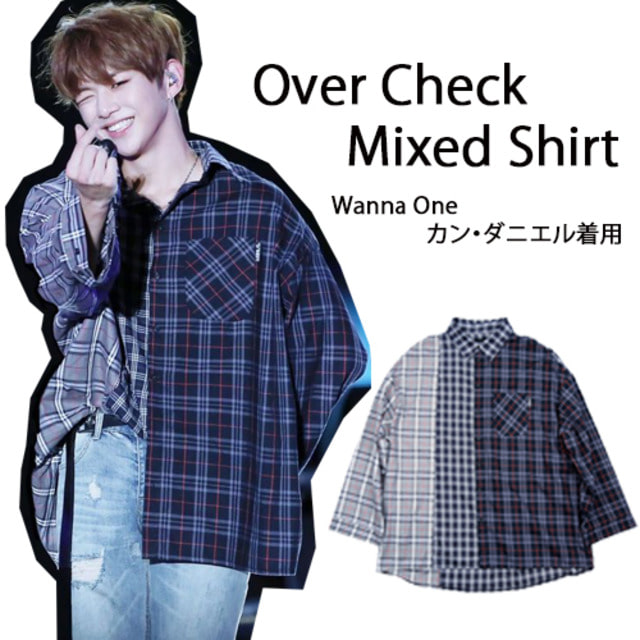 [AJOBYAJO] OVER CHECK MIXED SHIRT NAVY_WANNAONE_ZICO