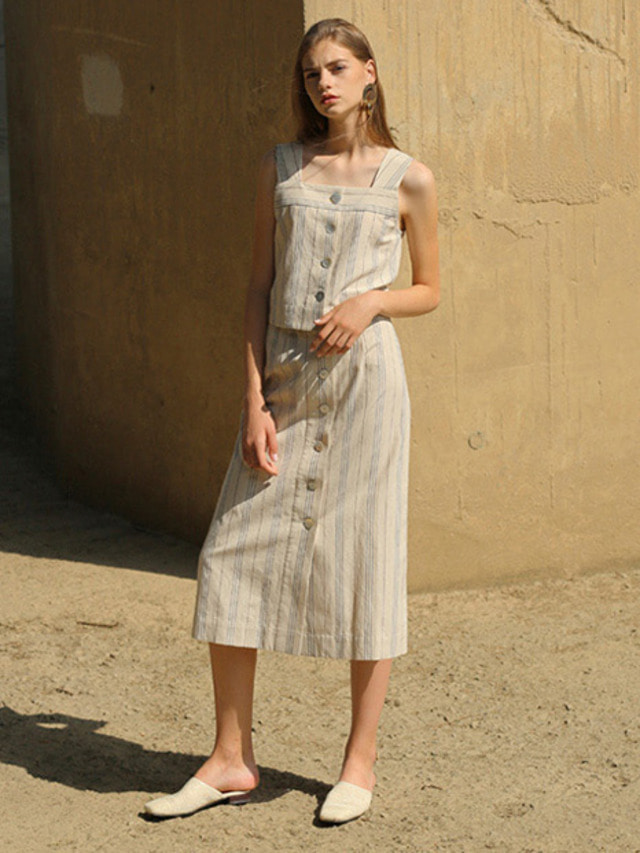 [MOHAN]STRIPE LINEN BUTTON SKIRT BEIGE