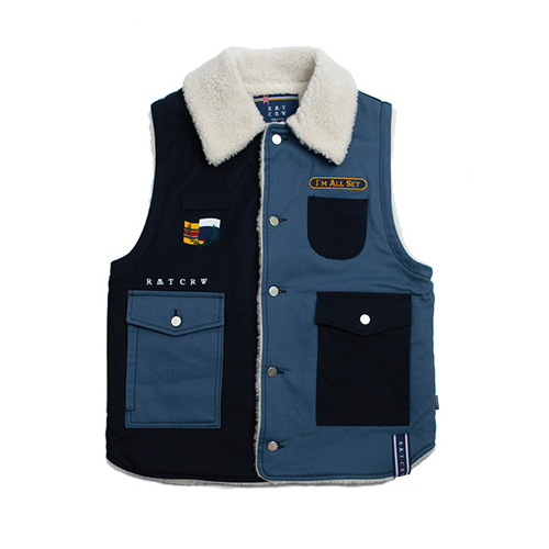 [ROMANTICCROWN] RETRO HUNTING VEST NAVY