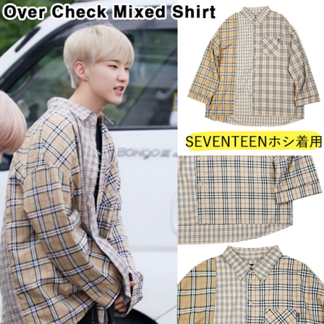 [AJOBYAJO]Over Check Mixed Shirt BEIGE_SEVENTEEN_WANNAONE