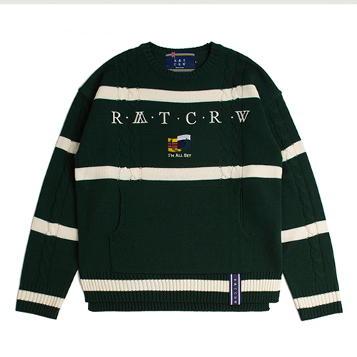 [ROMANTICCROWN] ROUND NECK CABLE KNIT GREEN
