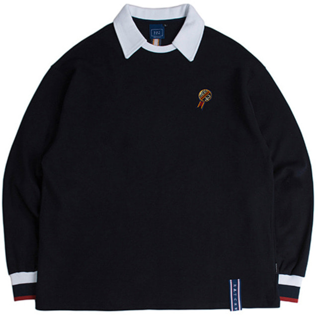 [ROMANTICCROWN] 24H COLLAR CREW NECK NAVY