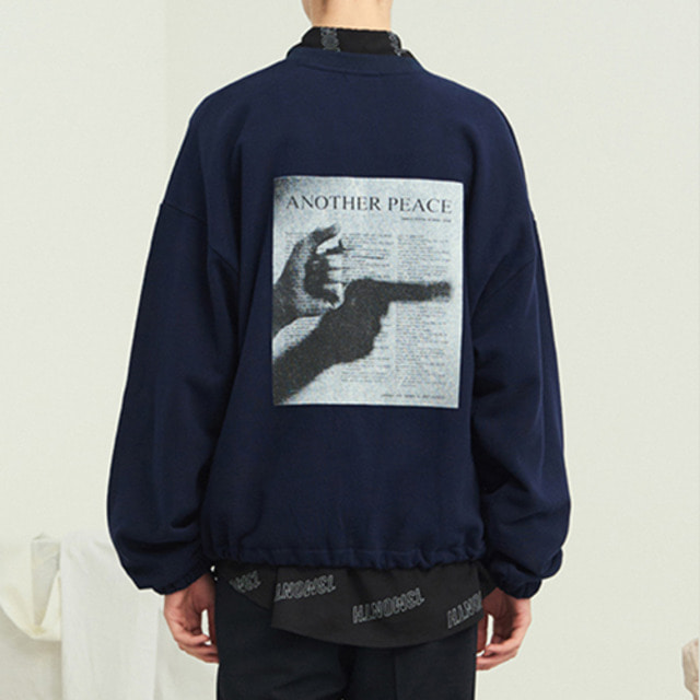 [13MONTH] PEACE WAIST STRING SWEAT SHIRT NAVY