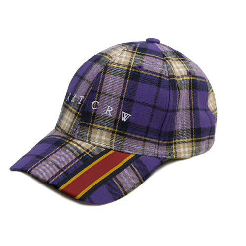 [ROMANTICCROWN] WEBBING CHECK BALLCAP PURPLE