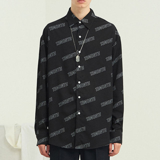 [13MONTH] LOGO PRINT LONG SLEEVE SHIRT BLACK