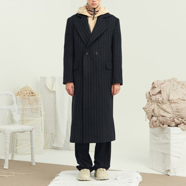 [13MONTH] 10月3日予約配送 STRIPE OVER DOUBLE LONG COAT NAVY