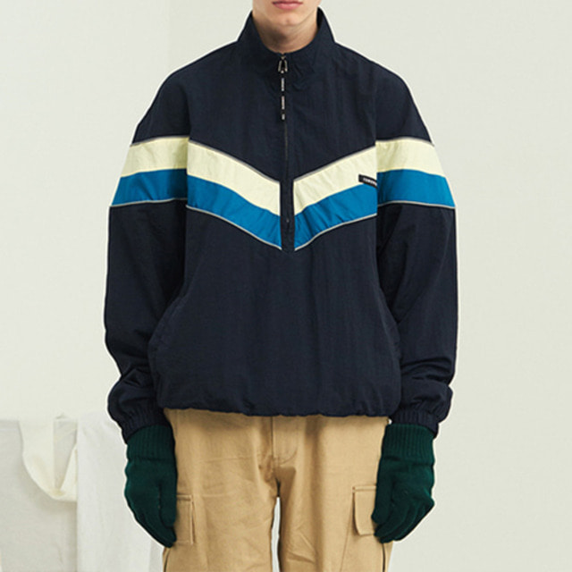 [13MONTH] HIGH NECK WAIST STRING ANORAK NAVY