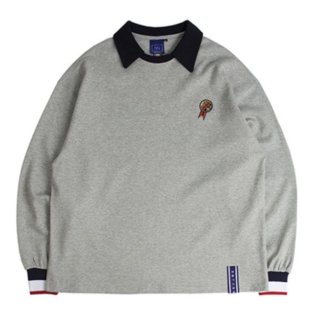 [ROMANTICCROWN] 24H COLLAR CREW NECK GRAY