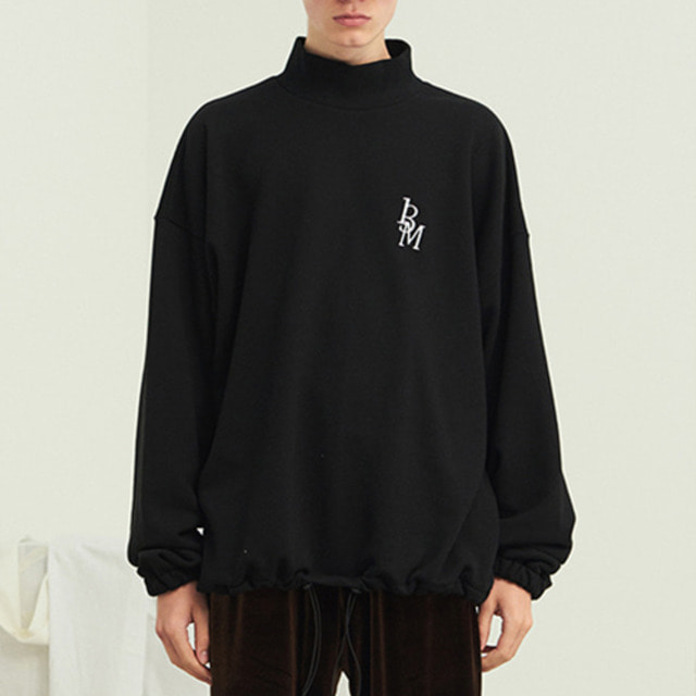 [13MONTH] TURTLENECK WAIST STRING SWEAT SHIRT BLACK