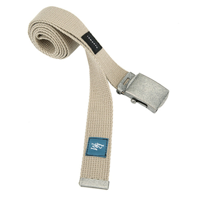 [13MONTH] SQUARE BUCKLE WEBBING BELT BEIGE