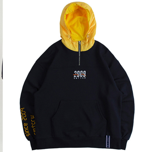 [ROMANTICCROWN] ALL SET HALF ZIP UP HOODIE NAVY