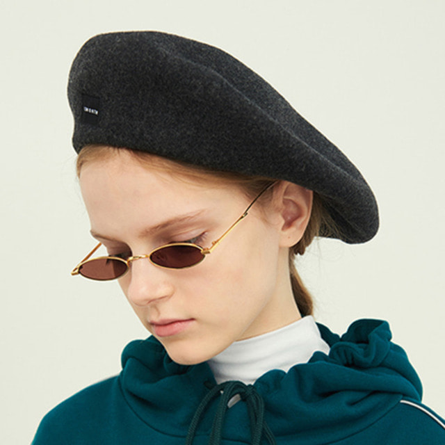 [13MONTH] WOOL WIDE BERET CHARCOAL