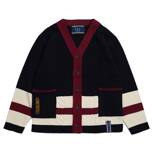 [ROMANTICCROWN] BUTTON CABLE KNIT CARDIGAN NAVY