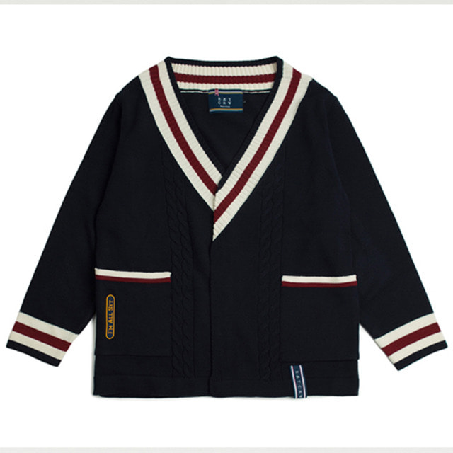 [ROMANTICCROWN] V NECK CABLE KNIT CARDIGAN NAVY