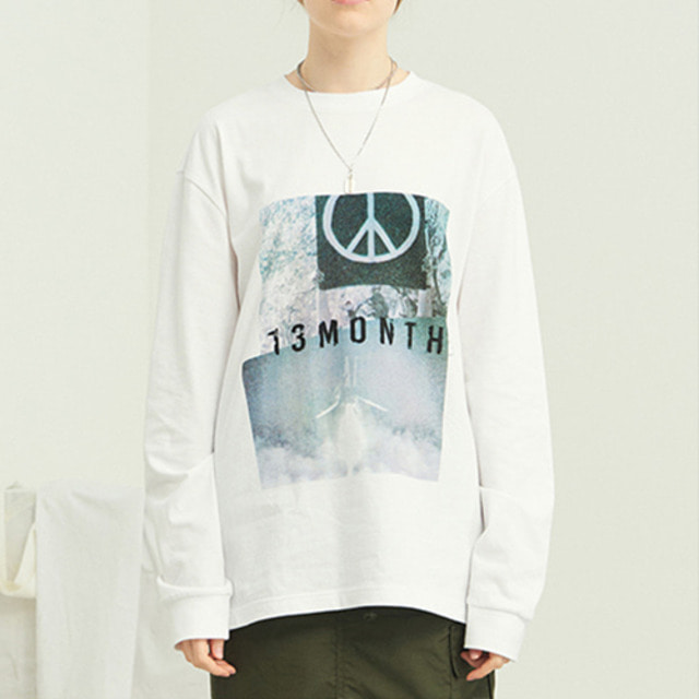 [13MONTH] PEACE LONG SLEEVE T-SHIRT WHITE