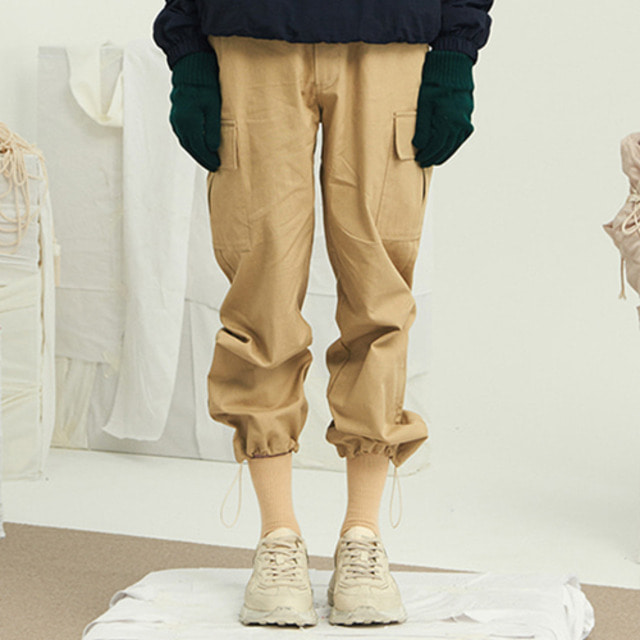 [13MONTH] STRING WIDE CARGO PANTS BEIGE