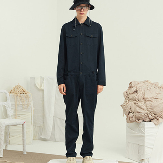 [13MPONTH] SINGLE BUTTON JUMP SUIT NAVY