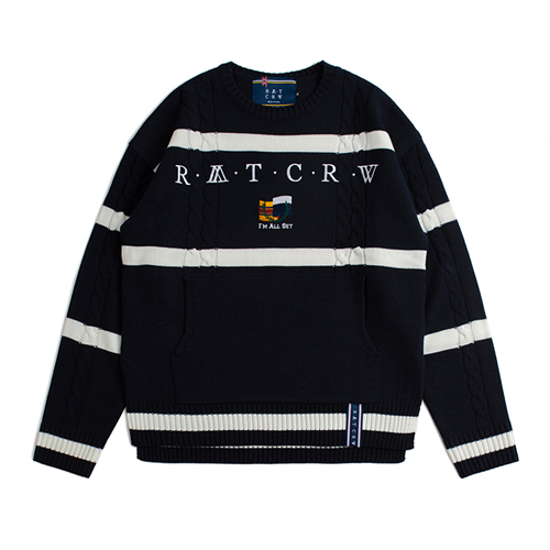[ROMANTICCROWN] ROUND NECK CABLE KNIT NAVY