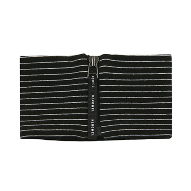 [13MONTH]ZIP-UP NECK WARMER STRIPE BLACK