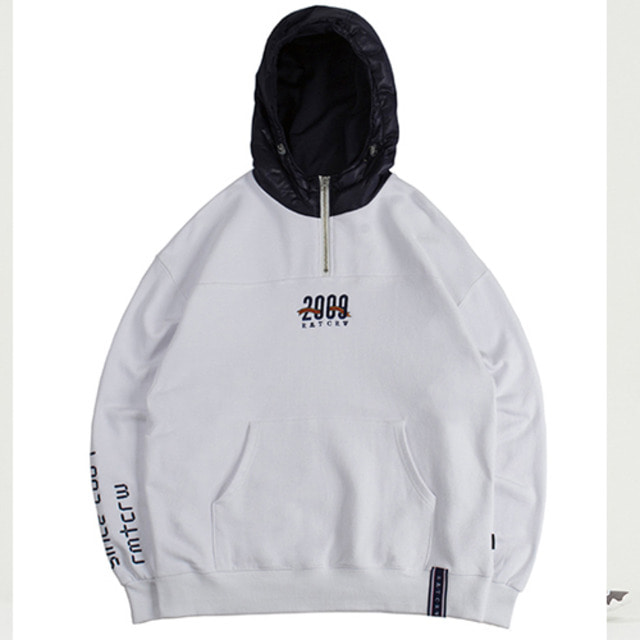 [ROMANTICCROWN] ALL SET HALF ZIP UP HOODIE WHITE